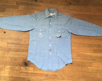 vintage 70s jc penney big mac no iron chambray custom embroidered blue collar long sleeve work shirt