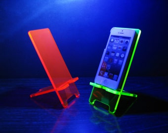 Neon Pink or Neon Green 5 Sizes - Cell Phone Stand Docking Station - iPhone 6, iPhone 6 Plus, iPhone 5, Samsung Galaxy S5 S4 S3, Universal