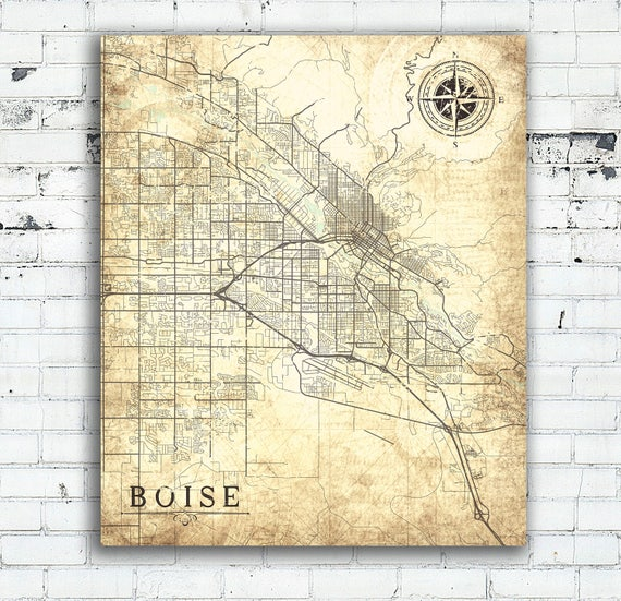 BOISE ID Canvas Print Idaho Vintage map Boise Id City Map