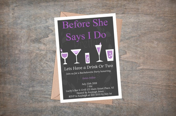 Bachelorette Party Invite Before She Says I Do Purple