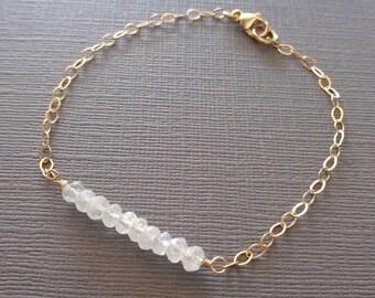 Birthstone Bar Bracelet /Dainty Bar Gem Bracelet/ Gold Silver Chain/ Small Gem Bracelet Turquoise Sapphire Tourmaline Moonstone Pyrite//GE15