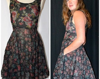 Vintage Rose and Blue Floral On Black Cotton Sleeveless Flared Skirt Mini Dress BERLINER Germany Sz S