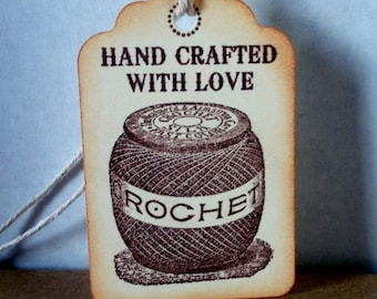 Hand Crocheted Tags hand stamped hand crocheted tags crocheted labels crocehted tags Set of 6
