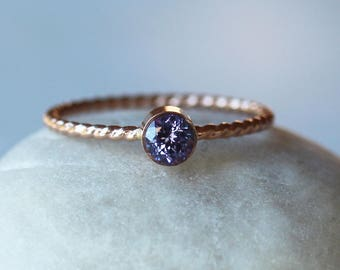 Tanzanite Ring, Rose Gold Twist Ring, Gemstone Solitaire, 14k Gold, Unique Engagement Ring, Faceted Gemstone, Rope Band, Handmade Jewelry
