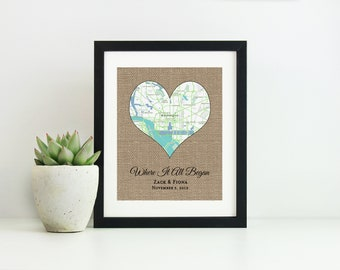 Engagement Gift for Couple- Where It All Began Map- Bridal Shower Gift for Bride- Anniversary Gift for Boyfriend- Personalized Wedding Gift