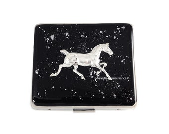 Morgan Horse 7 Day Pill Box with Individual Compartments Inlaid in Hand Painted Black Enamel w Silver Splash Personalized and Custom Color