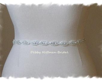 Skinny Bridal Sash, 21 Inch Wedding Dress Belt, Beaded Rhinestone Crystal Sash, Jeweled Wedding Sash, Crystal Bridesmaid Sash, No. 4070S-21