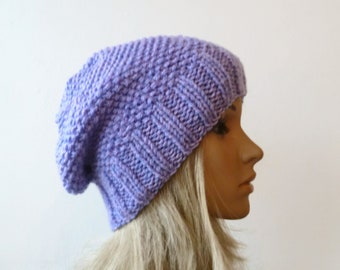 Purple Lilac Slouchy Beanie, Women's Slouch Hat, Hand Knit Hat, Women Slouch Beanie, Chunky Acrylic Slouchy Hat, ClickClackKnits