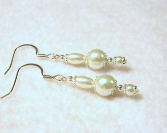 Lovely White Faux Pearl Glass Bead Pierced Earrings Silver Tone Accents!