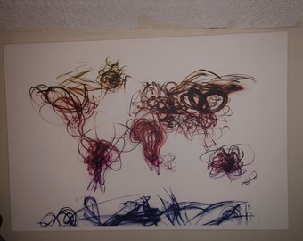 Paint scribbled world map, already framed