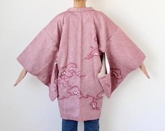 shibori dyed haori, tie dye kimono, Japanese jacket, Japanese fashion, kimono vintage, haori women, shibori, short kimono /2992