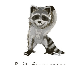 R is for Raccoon Print