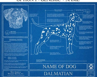 Personalized dog blueprints custom pet by wetnosewigglybutts personalized dalmatian blueprint dalmatian art dalmatian wall art dalmatian gift dalmatian print malvernweather Gallery