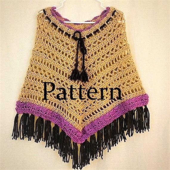 Crochet Pattern Boho Poncho Pattern Hippie Poncho Pattern