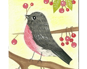 Pink Robin, ACEO Original, Spring, One of a kind, ATC, mixed media, collage, art, uk