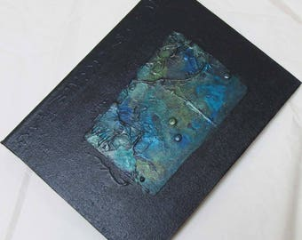 Handmade Refillable Journal Indigo Texture Patch 8x6 Original travellers notebook hardcover fauxdori