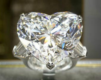CLEARANCE,20 ct Heart CZ Engagement Ring, Baguette 3 stone Anniversary ring,SIZE 4.5,one day shipping