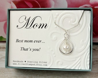Gift for Mom Sterling silver infinity necklace with Swarovski pearl, mom's birthday gift from daughter, from son, from kids Best Mom Ever