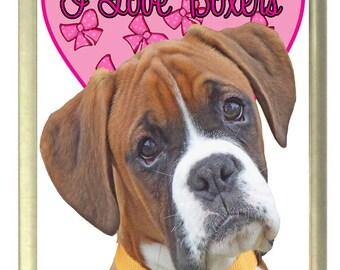 I Love Boxer Dogs Fridge Magnet 7cm by 4.5cm