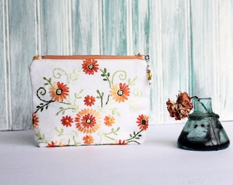 Amy Keepsake MakeUp Bag / Pink Green Vintage Embroidered Linen Cosmetic Pouch
