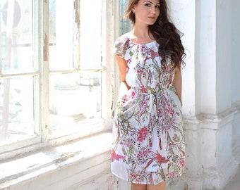 Chiffon Dress, Floral Dress, White chiffon dress, Summer dress, Bohemian Dress, Plus Size Dress, Midi Dress, Maxi Dress, Long Dress