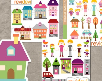 Family Houses clipart sale bundle, commercial use clip art, mom dad kids, building cliparts, digital images
