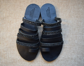 Black Leather Sandals By Anastasios