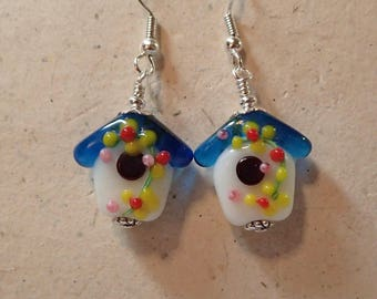 Glass Bead Birdhouse Bird House Earrings with a Transparent Blue Roof