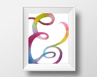 SALE -  Rainbow Ampersand, Cursive Ampersand, Colorful Poster Decoration, Baby Nursery, Kid Children Room, School, Watercolor Texture