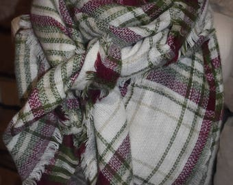 Plaid Tartan Blanket Scarf White Berry Olive Plaid Scarf Christams Scarves Zara Style Plaid Blogger Favorite-Womens Accessories