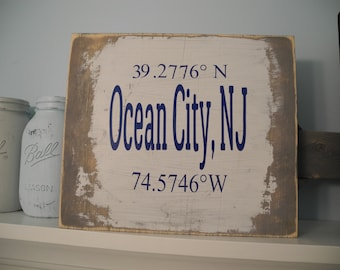 Beach Coordinates Rustic Sign