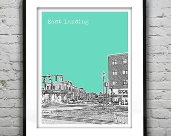 East Lansing Michigan Skyline Art Print Poster MI Version 2
