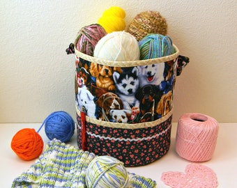 Knitting Project Bag Tote  Large Crochet Bucket with Pocket  Knitting Needles Yarn Portable Storage Dogs Puppies Fabric Organizer Container