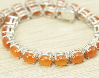 Sterling Silver 925 Carnelian Bracelet. Bold Color. 7 inch Size. Very Splendid Design. Hand-picked stones. PERFECT GIFT.