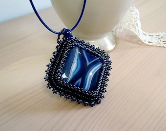 Blue Agate Necklace, Beadwork Necklace, Beaded Necklace, Square Agate necklace, Bead Embroidered