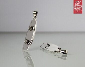 Kiteboard charm in silver 925 on sport chain