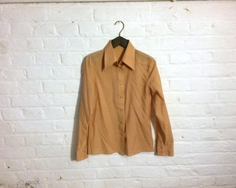 1970s beige cream shirt blouse top with wide pointed collar - UK 8 EU 36 US 6 - Seventies Mod