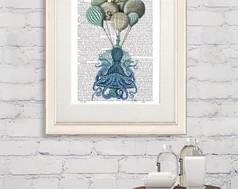 Nautical Decor Octopus Birdcage and Hot air Balloons - nautical bathroom octopus poster octopus nursery art Octopus Artwork octopus wall art