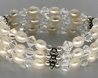 Sarosk Triple White Freshwater Pearl & Swarovski Crystal Bracelet.
