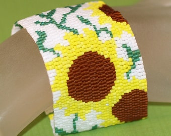 Sunflower Garden ... Peyote Bracelet . Beadwoven Cuff . Wide . Summer . Flowers . Floral . Yellow . Amber . Green . White . Wispy Vines