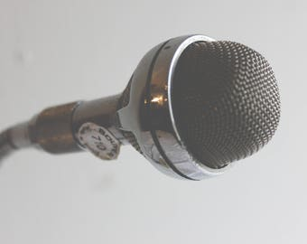 Vintage Bouyer 710 Microphone with gooseneck, on a white marble base
