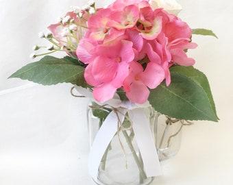 Floral Posy in Mason Jar- Artificial flowers - Silk flower arrangement