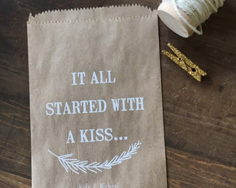 Wedding Cookie Bags, Farmhouse style Rustic Candy Buffet Sacks, Recycled Paper Favors, Personalized for You, Pack of 25