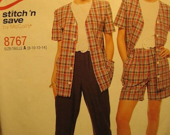 Easy Stitch 'n Save 8767 by McCalls Misses Top Puu-On Pants or Shorts Pattern