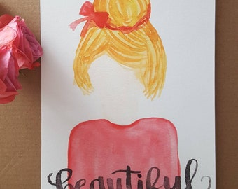 Beautiful Daughter - Blonde Hair - Art Print - Watercolor Painting - Child of God - Identity in Christ - Daughter of the King - Galatians