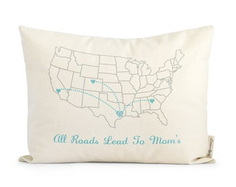 Gift For Mom, Personalized Map Pillow, State to State Pillow, Customized Map Design, Decorative Pillows, Rustic Decor, Throw Pillows