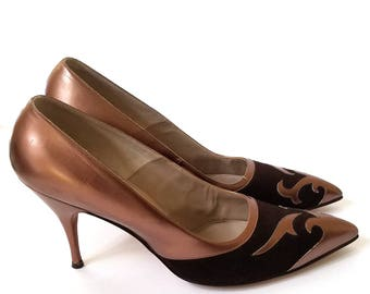 L. MILLER Vintage High Heel Leather Pumps Mauve Rose Gold with Brown Suede for Narrow feet Shoes Unique color