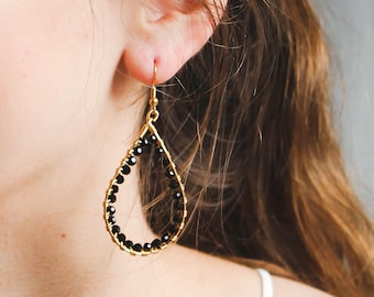 Black and Gold Wire Wrapped Earrings, Teardrop Earrings, Black Earrings, Special Occasion Earrings