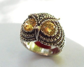 Sterling Silver Owl Ring With Citrine Eyes