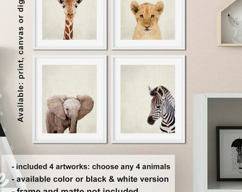 Elephant Zebra Lion Giraffe Baby animal prints nursery, Safari theme Nursery animal wall art, Jungle nursery, Animal baby shower Print/Canva